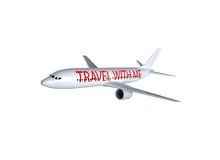 Airplane isolated. On white with travel with me sign on the side Stock Photography