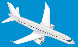Airplane isolated on blue Royalty Free Stock Images