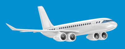 Airplane isolated on blue Stock Photography