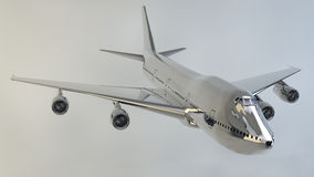 Airplane isolated boeing 747. Plane flying with metal texture Royalty Free Stock Image