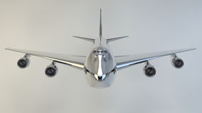 Airplane isolated boeing 747. Plane flying with metal texture Royalty Free Stock Photo