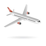 Airplane isolated illustration. Illustrated simple aircraft on white background, related to travel and low cost fares Stock Images