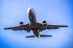 Airplane ist landing. Front view of a jet airplane approaching an airport for landing Stock Image