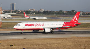 Airplane. ISTANBUL, TURKEY - JULY 09, 2015: AtlasGlobal Airline Airbus A321-211 (CN 675) takes off from Istanbul Ataturk Airport. AtlasGlobal has 18 fleet size Stock Images