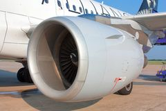 Airplane jet engine Stock Photography