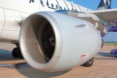 Airplane jet engine. Shot of airplane jet engine Stock Photography