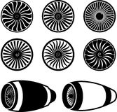 Airplane jet engine turbines icons. Black on white, silhouettes Stock Images