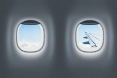 Airplane or jet interior, flight or traveling concept Royalty Free Stock Photography