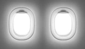 Airplane or jet interior with windows Stock Images