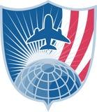 Airplane Jet Plane World Shield stock illustration