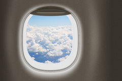 Airplane or jet window, travel concept Stock Image