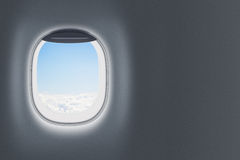 Airplane or jet window on wall with blank space Stock Photos
