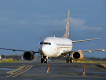 Airplane3. Jettime Boeing 737-3L9, registration OY-JTE taxiing in Tallinn Airport Stock Photos