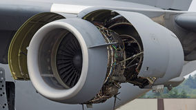 Airplane jumbo jet propulsion engine maintenance Royalty Free Stock Photography