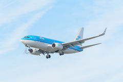 Airplane KLM Royal Dutch Airlines PH-BGX Boeing 737-700 is landing at Schiphol airport. Royalty Free Stock Photography