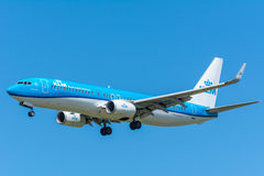 Airplane KLM Royal Dutch Airlines PH-BXD Boeing 737-800 is flying to the runway. Stock Image