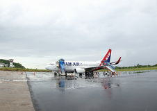 Airplane in Komodo Airport Royalty Free Stock Photography