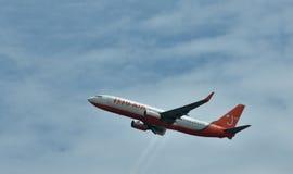 Airplane of Korean JEJU Air is departuring from Hongkong Airport Royalty Free Stock Photos