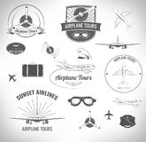 Airplane Lables Set. Vector Illustration Royalty Free Stock Photo