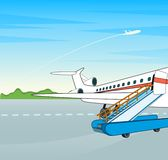 Airplane with a ladder on a flight bar. Royalty Free Stock Images