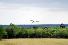 Airplane land in grass airfield. Monomotor airplane makes a descending for land in grass airfield Stock Photo