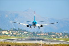 Airplane landing Stock Photography