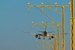 Airplane landing Royalty Free Stock Image