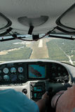 Airplane Landing. Image taken from inside an airplane coming in to land Royalty Free Stock Photos