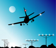 airplane landing Ελεύθερη απεικόνιση δικαιώματος