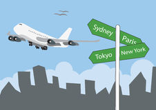 Airplane landing above the sign post Royalty Free Stock Photo