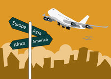 Airplane landing above the sign post Royalty Free Stock Image