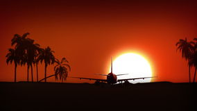 Airplane landing in Africa. Airplane is landing at the sunrise or sunset with big golden sun. Landing with heat haze, and landing without heat haze