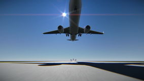 Airplane landing on the airport runway stock illustration