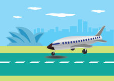 Airplane Landing in Australian Airport Vector Illustration Stock Photography