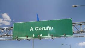 Airplane Landing A Coruna. Spanish royalty free illustration