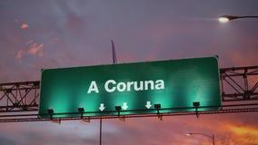 Airplane Landing A Coruna during a wonderful sunrise stock illustration