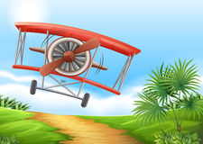 Airplane landing on dirt road Royalty Free Stock Images