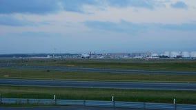 Airplane landing, early morning stock video