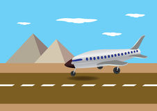 Airplane Landing in Egypt Vector Illustration Royalty Free Stock Photo