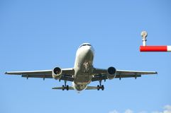 Airplane landing at Frankfurt Airport Stock Photo