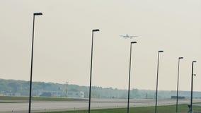 Airplane landing in Frankfurt Airport, FRA. Germany. Silhouette of jet flying stock footage
