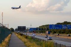 Airplane landing in Frankfurt Stock Photography