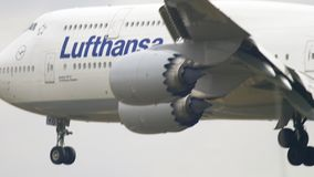 Airplane landing in Frankfurt stock video footage