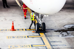 Airplane landing gear wheel parking on ground Royalty Free Stock Image