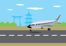 Airplane Landing in Japan Vector Illustration Stock Image