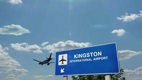 Airplane landing at Kingston Jamaica airport