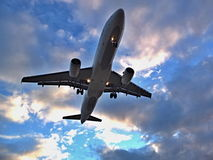 Airplane. An airplane landing at Lanzarote airport Stock Photography