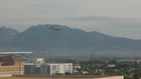 Airplane landing in Las Vegas airport stock video