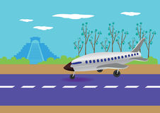 Airplane Landing in Mexico Vector Illustration Royalty Free Stock Photos