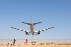 Airplane is landing Royalty Free Stock Photo